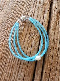 Armband 3reihig türkis/Perle