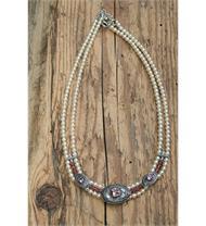 Collier 2reihig + Perlen