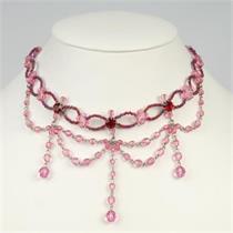 Collier Glasperlen - pink