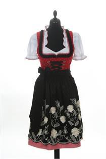 Dirndl Kurz rot/schwarz - Gr.34