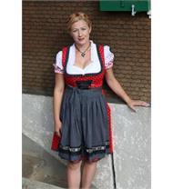 Dirndl Kurz rot/schwarz