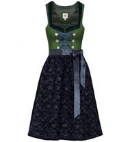 Dirndl Midi Nanina grün/blau mit Glitzeschürze