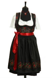 Dirndl Midi schwarz/rot - Gr.48