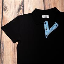 Herren Polo schwarz EDW blau - 3XL