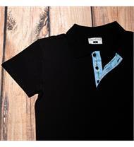 Herren Polo schwarz EDW blau