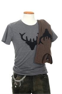 Herren Shirt braun Hirsch - S