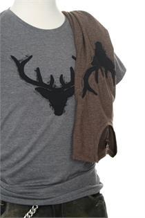 Herren Shirt grau Hirsch - S