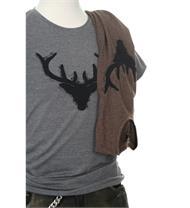 Herren Shirt grau Hirsch