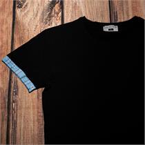 Herrenshirt mit Edelweissstoff in blau - L