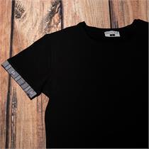Herrenshirt mit Edelweissstoff in grau - L