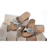 Holz Sandale Fell w./schw.