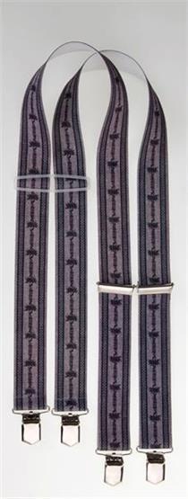 Hosenträger grau mit Edelweissmuster - 105cm
