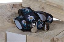 Hosenträger schwarz mit Edelweissmuster - 105cm