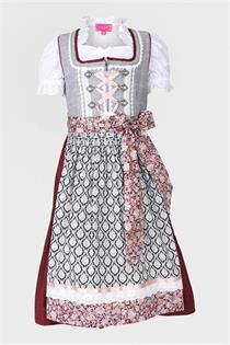 Kinderdirndl inklusive Bluse grau/rot - Gr.158