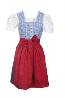 Kinderdirndl inklusive Bluse hellblau rot - Gr.104
