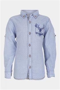 Kindertrachtenhemd blau mit Hirschmotiv - Gr.116