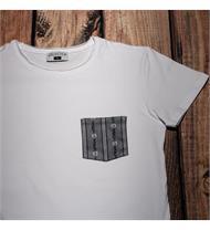 T-Shirt Brusttasche grau /weiss