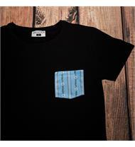 T-Shirt schw. Brusttasche EDW blau