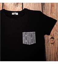 T-Shirt schw. Brusttasche EDW grau