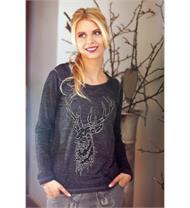 Trachten T-Shirt Grazia dunkelgrau mit Hirschmotiv
