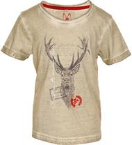 Trachten T-Shirt Jagdliebe beige mit Hirschmotiv