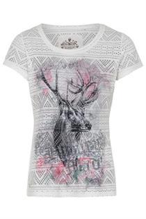 Trachten T-Shirt weiss mit Löchlioptik - 3XL