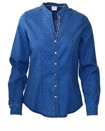 Trachtenbluse jeansblau - Gr.42
