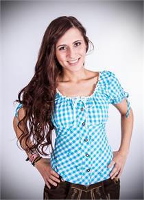 Trachtenbluse Jenny türkis kariert - Gr.34