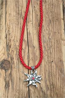 Trachtencollier mit dicker gedrehter Kordel und Edelweissanhänger - 23 rot