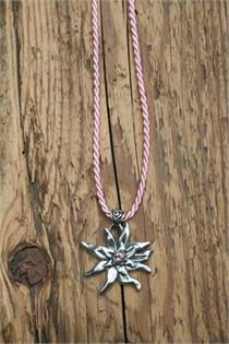 Trachtencollier mit dünner gedrehter Kordel und Edelweissanhänger - 12 hellrosa