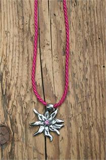 Trachtencollier mit dünner gedrehter Kordel und Edelweissanhänger - 14 pink