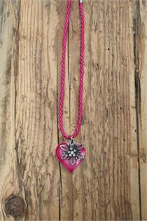 Trachtencollier mit gedrehter Kordel und Herz/Edelweissanhänger - 14 pink