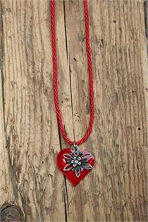 Trachtencollier mit gedrehter Kordel und Herz/Edelweissanhänger - 23 rot