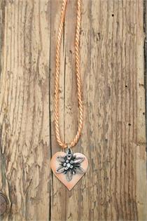 Trachtencollier mit gedrehter Kordel und Herz/Edelweissanhänger - 27 apricot