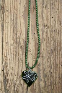 Trachtencollier mit gedrehter Kordel und Herz/Edelweissanhänger - 34 oliv