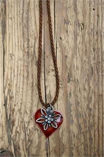 Trachtencollier mit gedrehter Kordel und Herz/Edelweissanhänger - 35 braun