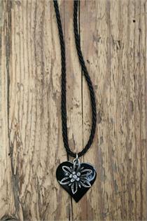 Trachtencollier mit gedrehter Kordel und Herz/Edelweissanhänger - 50 schwarz