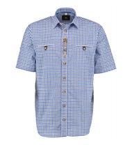 Trachtenhemd Comfort Fit Kurzarm blau kariert