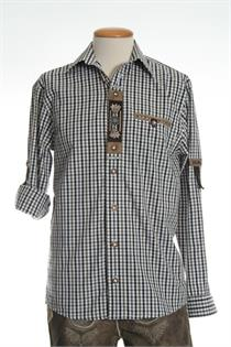 Trachtenhemd Comfort Fit Langarm braun kariert - Gr.35/36