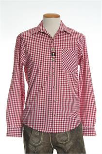 Trachtenhemd Comfort Fit Langarm rot kariert - Gr.35/36