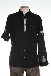 Trachtenhemd Comfort Fit Langarm schwarz - Gr.37/38