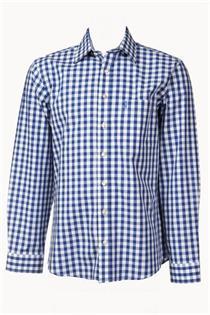 Trachtenhemd Regular Fit blau gross kariert - Gr. 37/38