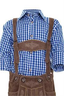 Trachtenhemd Regular Fit blau kariert - Gr.80