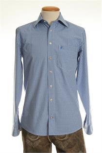 Trachtenhemd Regular Fit blau klein kariert - Gr. 43/44