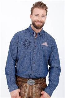 Trachtenhemd Regular Fit blau mit Alloverprint - 4XL