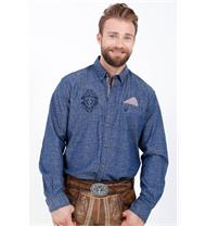 Trachtenhemd Regular Fit blau mit Alloverprint
