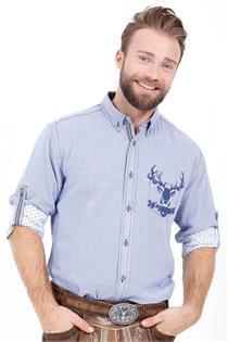 Trachtenhemd Regular Fit blau mit Hirschmotiv - XXL