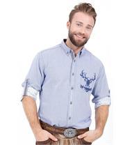 Trachtenhemd Regular Fit blau mit Hirschmotiv