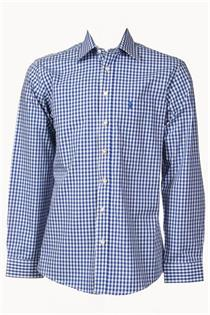 Trachtenhemd Regular Fit jeans klein kariert - Gr.39/40