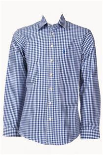 Trachtenhemd Regular Fit jeans klein kariert - Gr.47/48